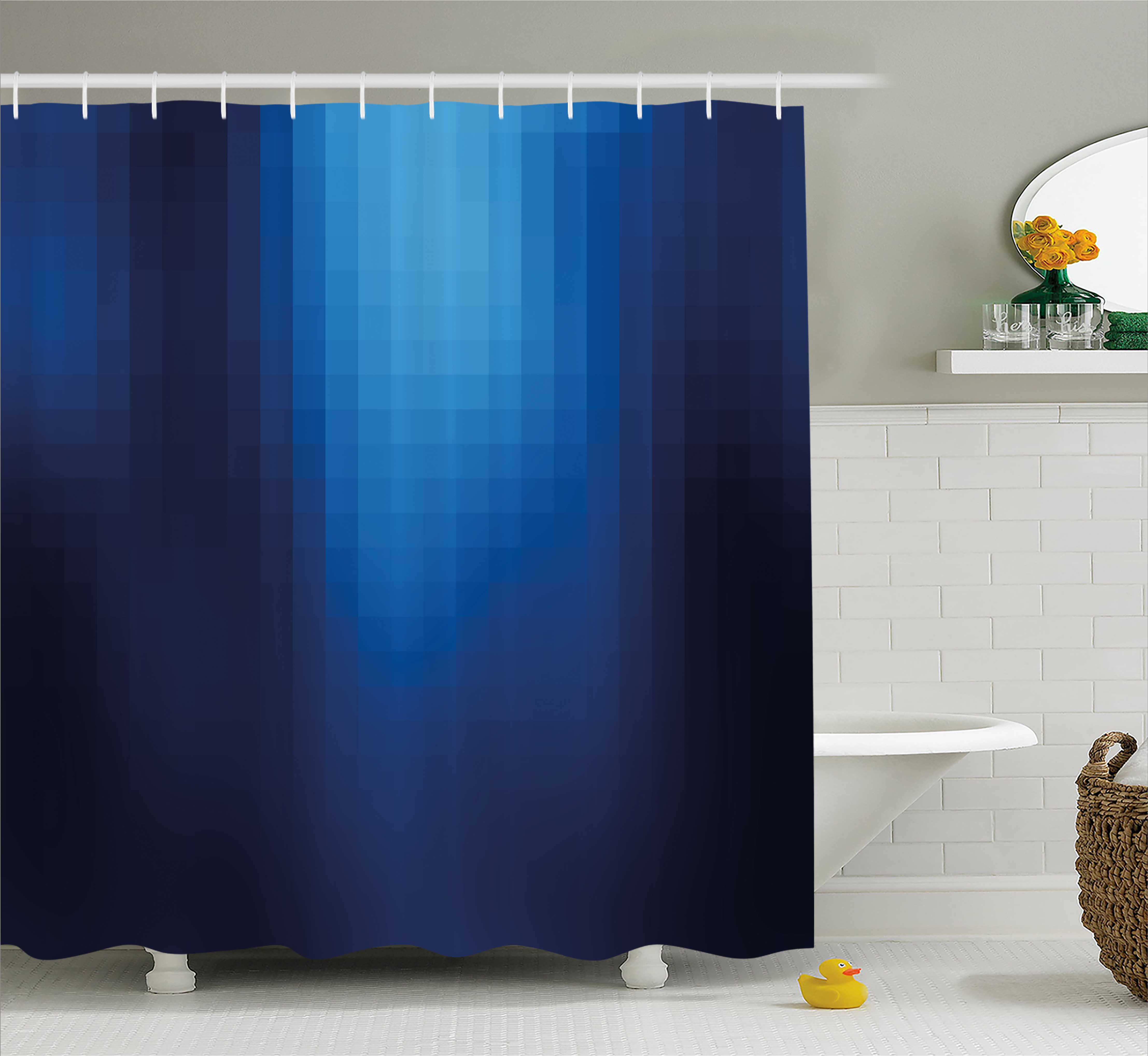Navy Shower Curtain, Blurry Mosaic Like Pixel Squares in Blue Ombre Colors Image, Fabric Bathroom Set with Hooks, 69W X 70L Inches, Navy Blue Light Blue and Turquoise, by Ambesonne
