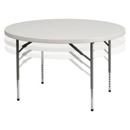 Flash Furniture 48'' Round Height Adjustable Granite White Plastic Folding Table 54' White Round Table