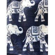 """Elephant Print Velvet Plush Fringed Throw Blue / 50""""x60"""""""