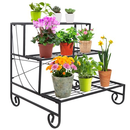 3 Tier Plant Stands - Zeny 3 Tier Metal Plant Stand Decorative Planter Holder Flower Pot Shelf Rack - Black