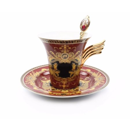 Royalty Porcelain 3-pc Red Tea Set, Service for 1, Medusa Greek Key, 24K Gold (Deluxe Porcelain Tea Set)