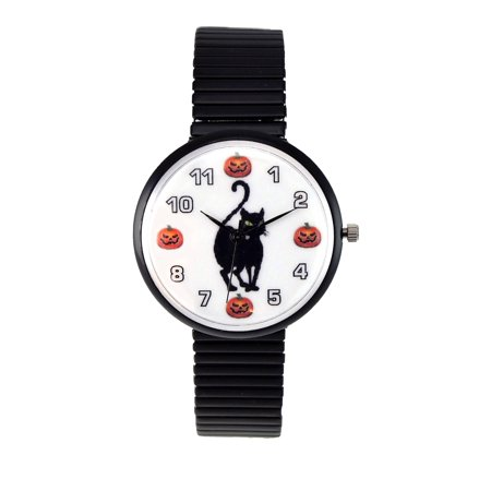JF Collections Inc Women's Halloween Watch Black Cat and Pumpkin Dial Black Stretch Band (Watch Halloween 6)