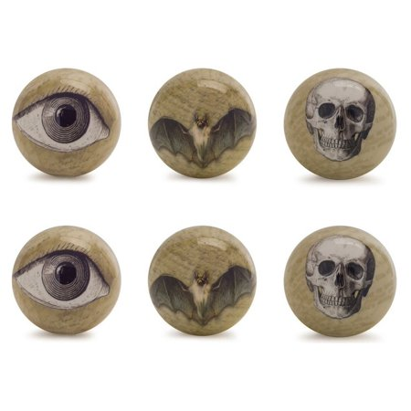 Pack of 6 Brown and Black Halloween Eyeball, Bat and Skull Orb Decorations 3.75