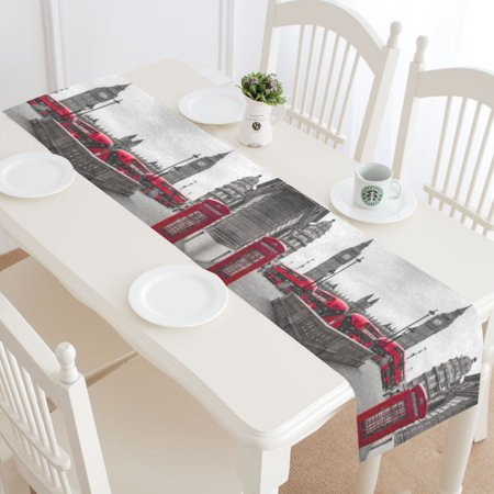 Mypop Ben Red Telephone Booth Bus Table Runner Home Decor 16x72 Inch London Skyline