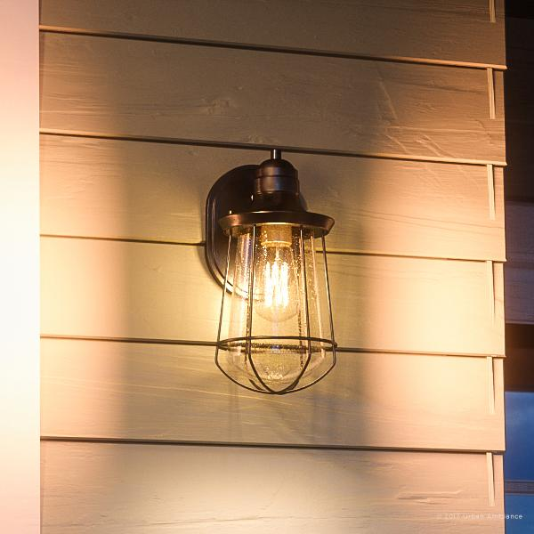 """Urban Ambiance Luxury Vintage Outdoor Wall Light, Small Size: 11.25""""H x 6.25""""W, with Nautical Style Elements, Cage Design, Estate Bronze Finish and Seeded Glass, Includes Edison Bulb, UQL1120"""