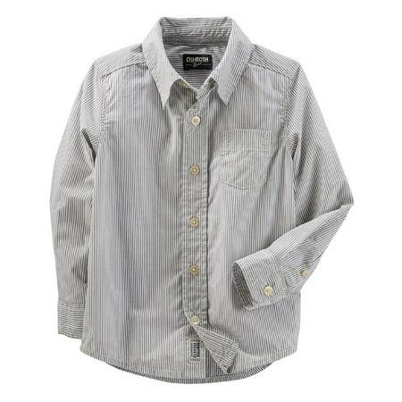 OshKosh B'gosh Little Boys' Striped Button-Up Shirt, 4-Toddler