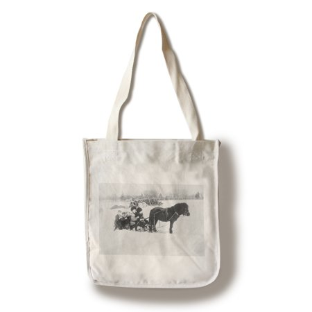 - Children on Pony Drawn Sled Photograph (100% Cotton Tote Bag - Reusable)