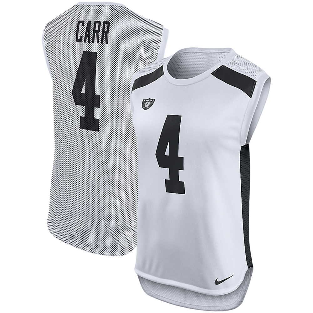 Derek Carr Oakland Raiders Nike Women's Player Name & Number Sleeveless Top - White
