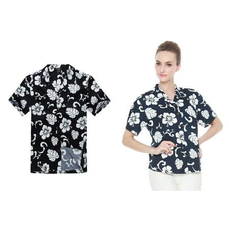 73dfb5b384a04f Couple Matching Hawaiian Luau Outfit Aloha Shirts in Navy Hibiscus Men 2XL  Women 2XL - Walmart.com