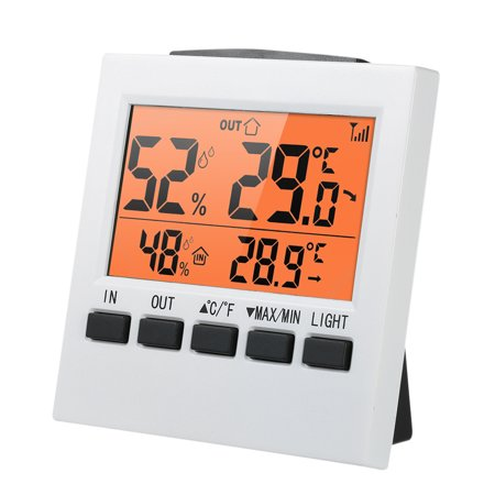 LCD Digital Wireless Indoor/Outdoor Thermometer Hygrometer ℃/℉ Temperature Humidity Meter with Max Min Value Display Transmitter