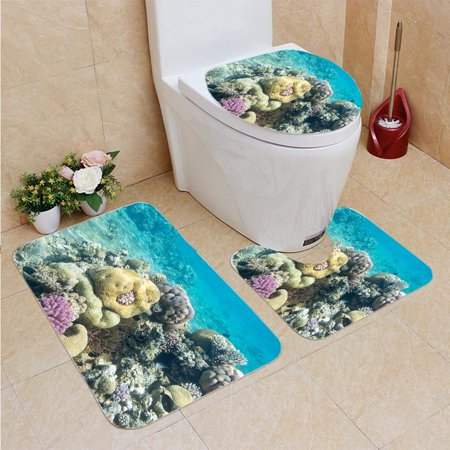 EREHome Coral Reef Brain Coral in Tropical sea Underwater 3 Piece Bathroom Rugs Set Bath Rug Contour Mat and Toilet Lid Cover - image 2 of 2