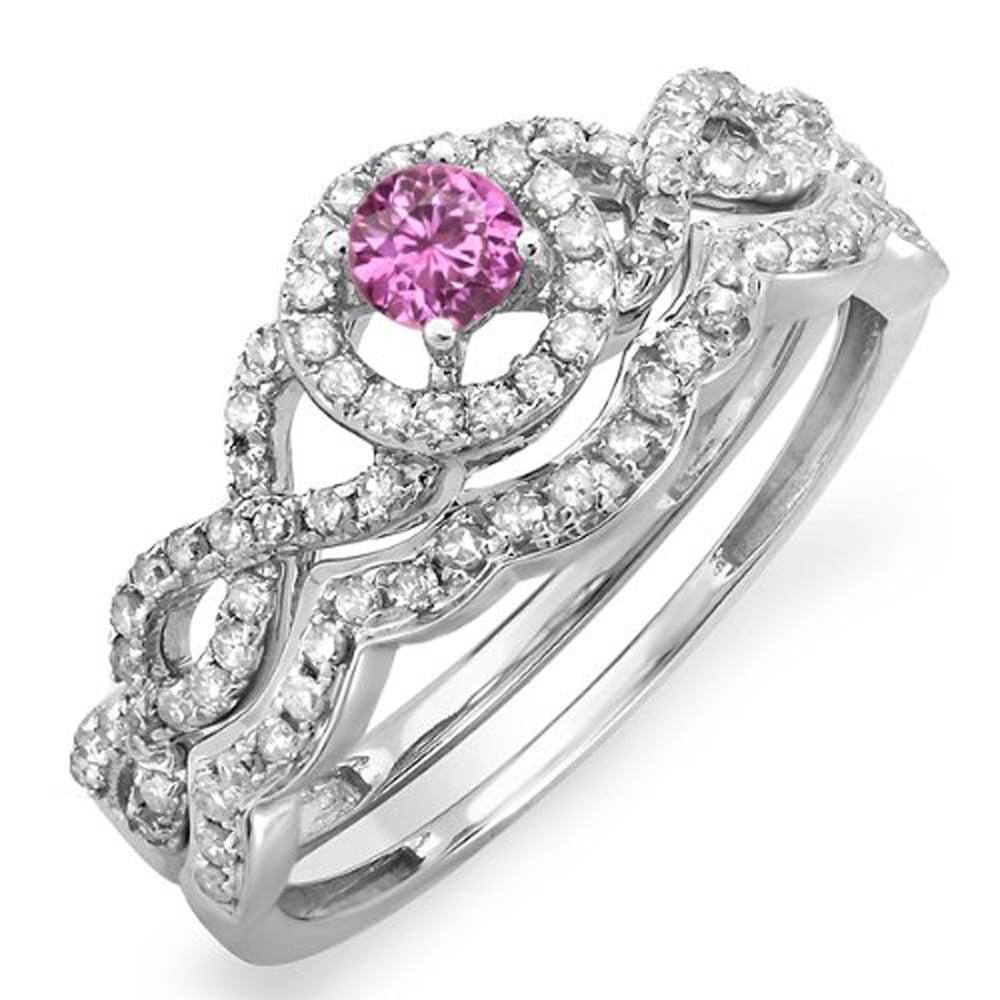 18K White Gold Round Pink Sapphire & White Diamond Halo Style Bridal Engagement Ring Matching Band Set by DazzlingRock