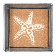 Starfish Napkin or Trinket Tray Square Galvanized Metal and Printed Cork 5 Inch