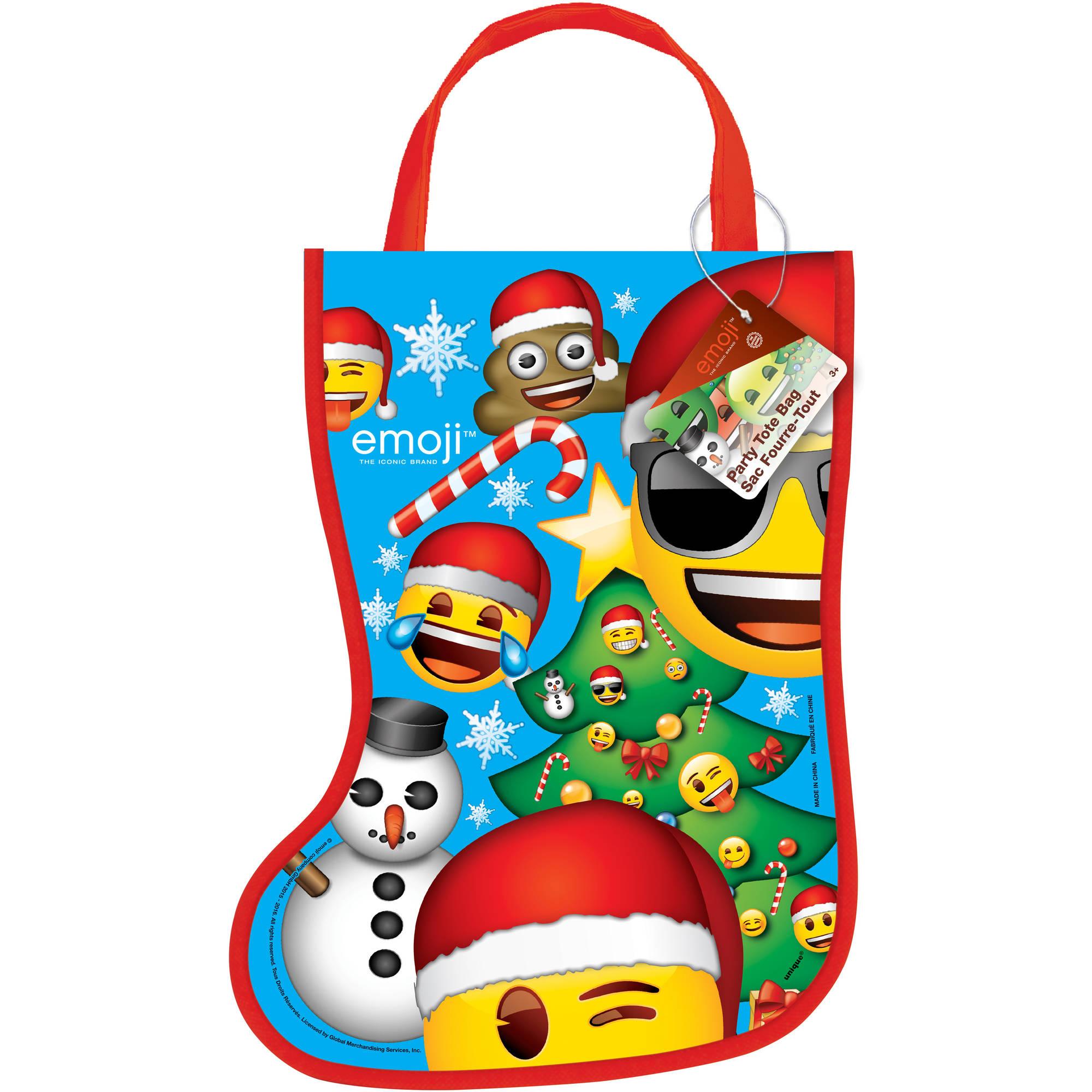 Emoji Christmas Stocking Goodie Bag, 13 x 9.5 in, 1ct