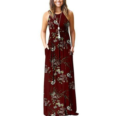 Hawaiian Party Dress (Hawaiian Holiday dresses For Women Floral Print Long Maxi Boho Dress Sleeveless  Evening Party Beach Sundress Blue Sun Print)