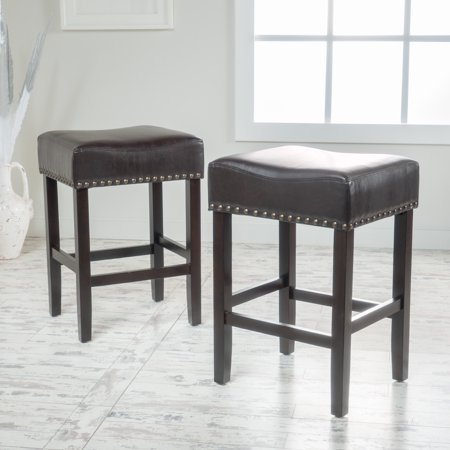 Swell Noble House Mason Brown Leather Backless Counter Stool With Espresso Legs Set Of 2 Beatyapartments Chair Design Images Beatyapartmentscom