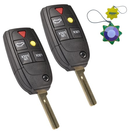 HQRP 2-Pack Remote Flip Folding Key Fob Shell Case Keyless Entry w/5 Buttons for Volvo V70 2004 2005 2006 2007 + HQRP UV Meter