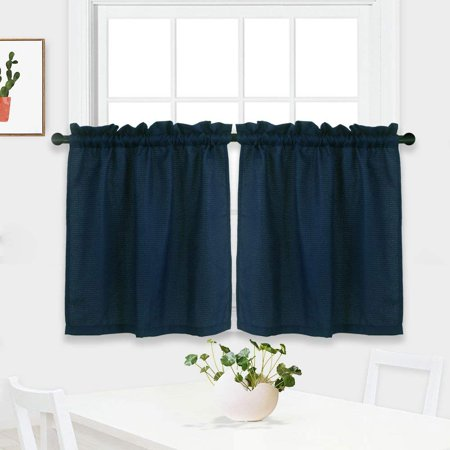 Bathroom Bedroom Short Length Kitchen Tier Curtains Water Repellent Rod  Pocket Half Window Waffle Covering Curtain(30*24inch/30*36inch, 1 Pair)
