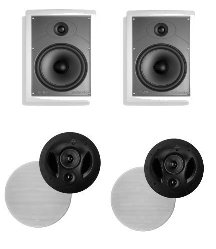 Polk Audio 90-RT In-Ceiling Speaker (Pair) Plus A Polk Audio MC85 In-Wall Speaker (Pair)