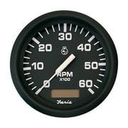 "FARIA EURO BLACK 4"" TACHOMETER HOURMETER 6000 RPM GAS INBOARD"