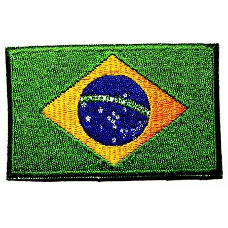 "Brazil Brasil Country Flag 3.5""x2.25"" logo Iron On Patch Applique"