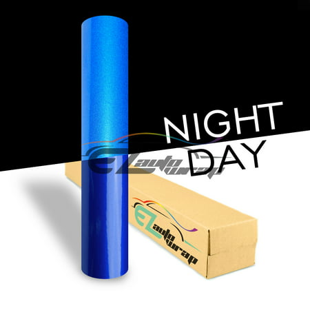 - EZAUTOWRAP Blue Night Reflective Vinyl Wrap Sticker Decal Graphic Sign Self Adhesive Film Roll For Car Vehicle Boat Truck Trailer RV Motorcycle Bike Road Sign Party Club Decoration