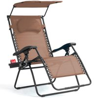 Gymax Folding Recliner Zero Gravity Lounge Chair W/ Shade Canopy Cup Holder Brown