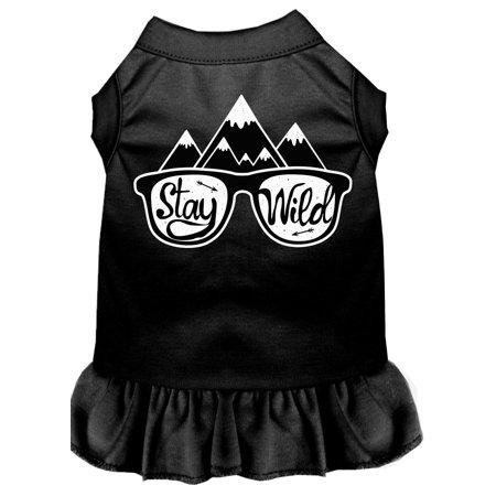 Stay Wild Screen Print Dog Dress Black Med (12)