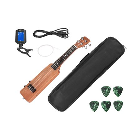"Ammoon Creative Bottle Shape 21 ""Okoumé Électrique Bois Ukulélé Ukelele Uke Kit avec Tuner Sac de Transport 3.5mm Audio Câble 4pcs Extra Cordes 5pcs Celluloid Picks - image 2 of 7"
