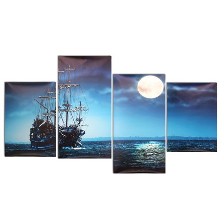 Moaere NO Framed 4 Panels Art Sea Ship Wall Art Oil Painting Giclee Landscape Canvas Prints Home Decoration