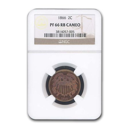 1866 Two Cent Piece PF-66 Cameo NGC (Red/Brown) Clad Ngc Pf70 Ultra Cameo