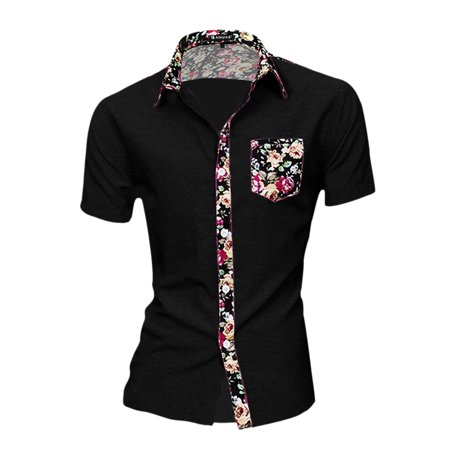 Unique Bargains Men's Casual Single Breasted Short Sleeve Pocket Floral Print