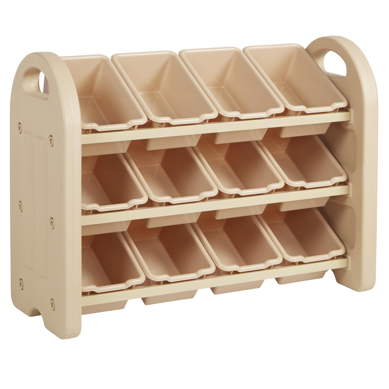 3-Tier Storage Organizer with Assorted Bins - Sand