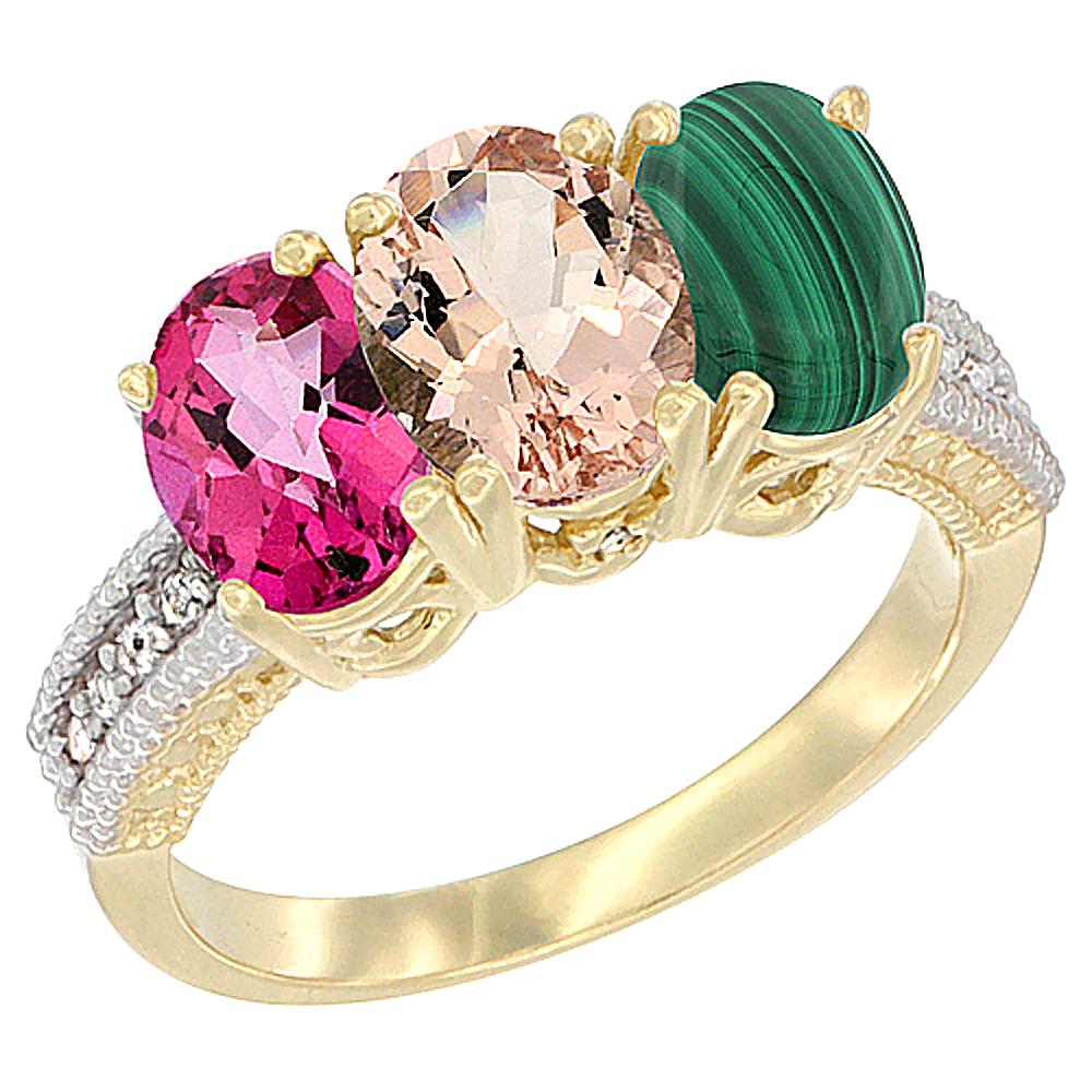 10K Yellow Gold Diamond Natural Pink Topaz, Morganite & Malachite Ring 3-Stone Oval 7x5 mm, sizes 5 10 by WorldJewels