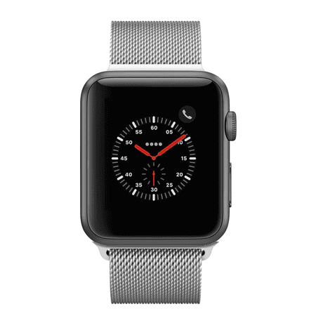 Apple Watch Series 3, 42MM, GPS + Cellular, Space Gray Aluminum Case, Silver Milanese Loop (Manufacturer Refurbished) ()