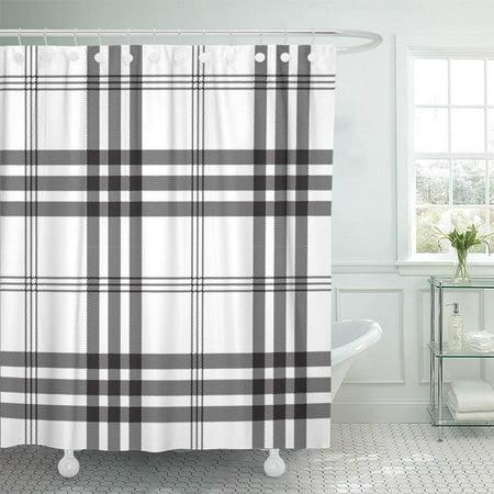 (PKNMT Tartan Black White Check Pixel Plaid Grid Flannel Irregular Abstract British Bathroom Shower Curtain 66x72 inch)