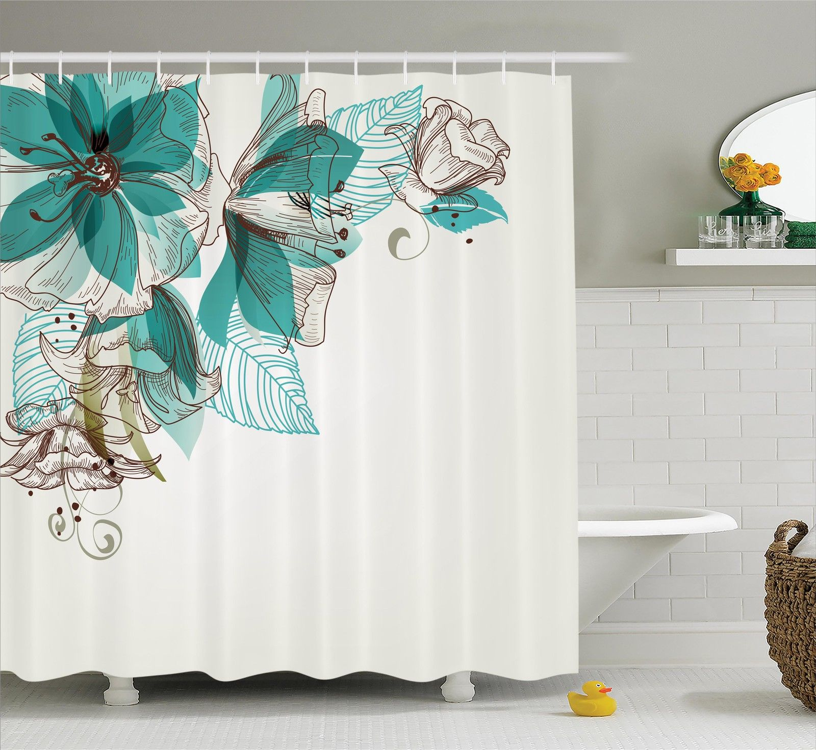 Turquoise Shower Curtain Flowers Buds Leaf At The Top Left Corner Festive Season Celebrating Theme Fabric Bathroom Set With Hooks Teal Pale Green