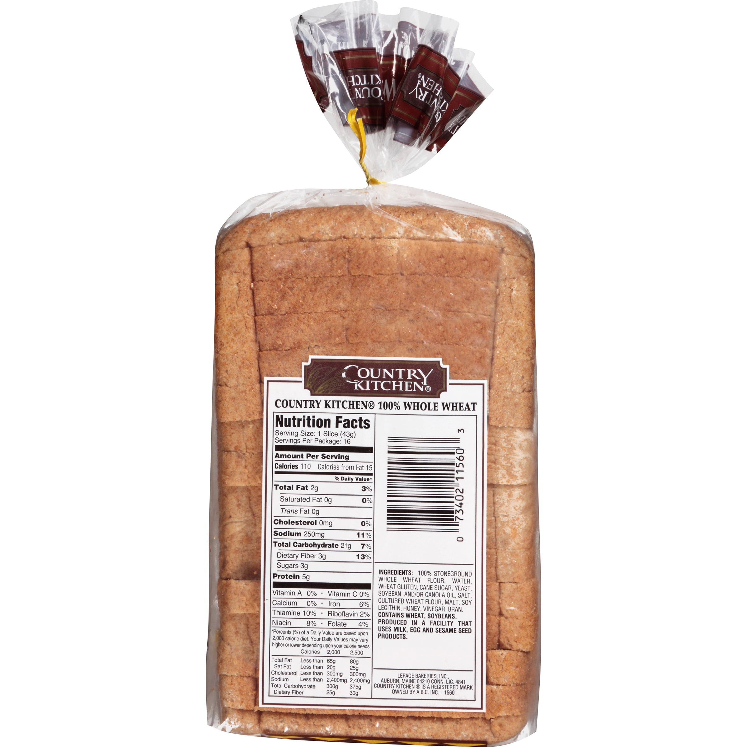 Country Kitchen All Natural Whole Grain 100 Wheat Bread 24 Oz Bag Com