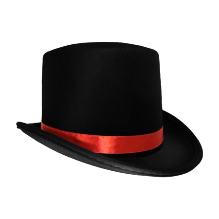 Black Top Hat With Red Band Caroler Snowman Ringmaster Mad Hatter Baron - Mens Ringmaster Costume