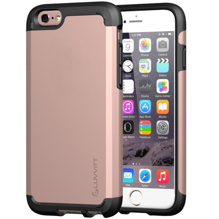 iPhone 6s Case Rose Gold, LUVVITT ULTRA ARMOR NL Shock Absorbing Case Best Heavy Duty Dual Layer Tough Cover for iPhone 6 / iPhone 6s (4.7) Rose