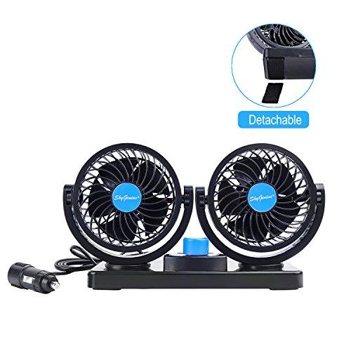 12v car cooling fan with 360rotatable dual head,2 adjusta...