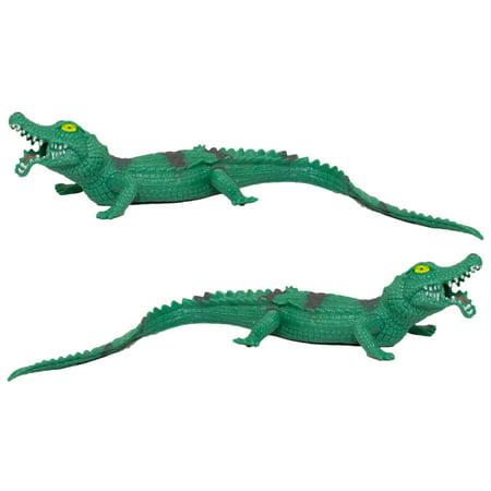 Set of 2 12 Inch Realistic Soft Rubber Stretchy Stretch Alligators](Alligator Decorations)