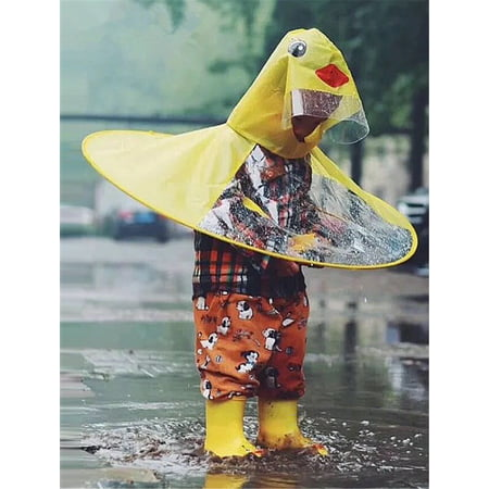 Raincoat for Kids Rain Jacket Cute Cartoon Duck Shaped Lightweight Rainwear Rain Slicker for Boys (Cartoon Raincoat)