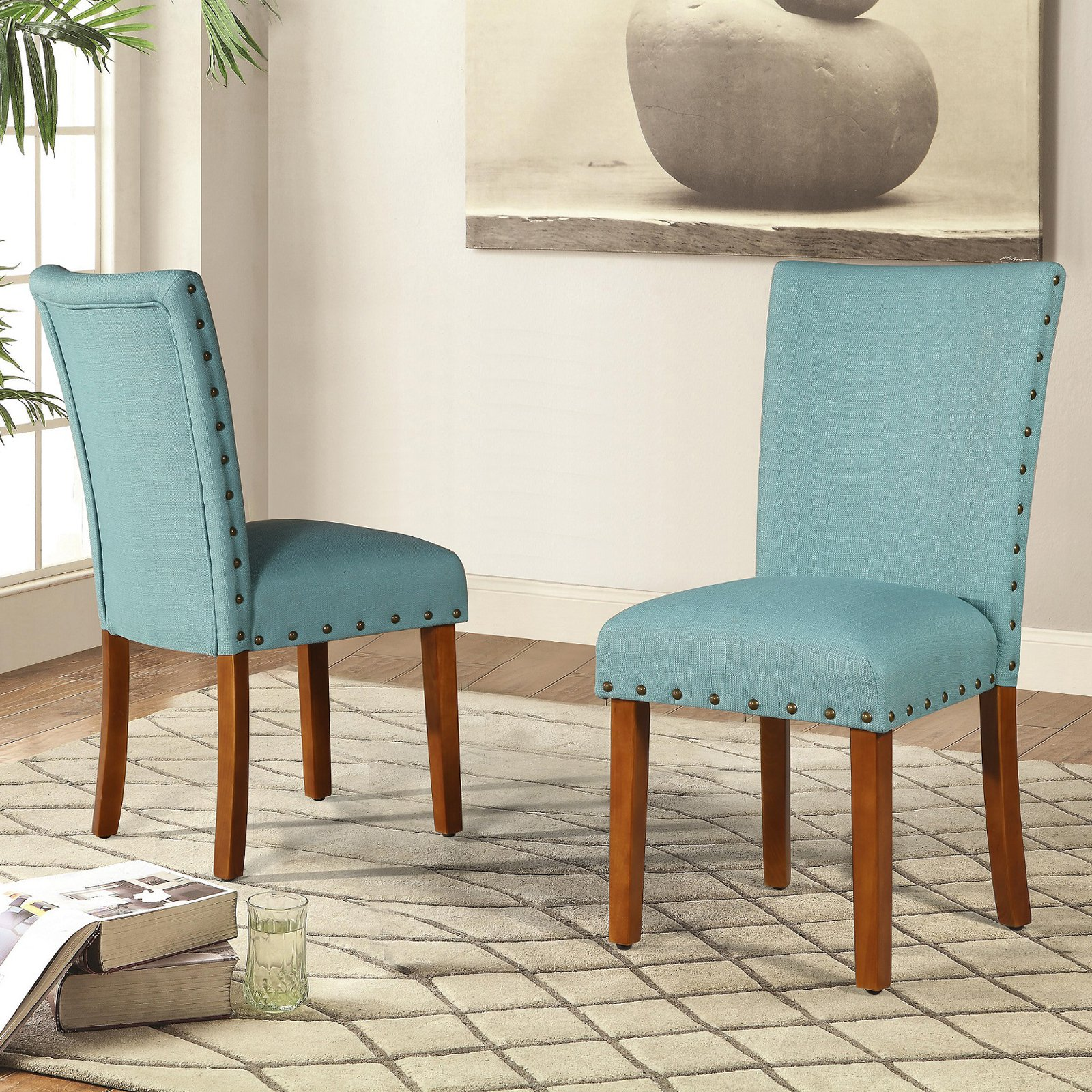 Roundhill Elliya Fabric with Nailheads Parsons Chairs, Set of 2, Multiple Colors Available