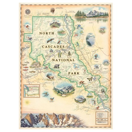 North Cascades National Park Hand-Drawn, Antique-Style Map (9