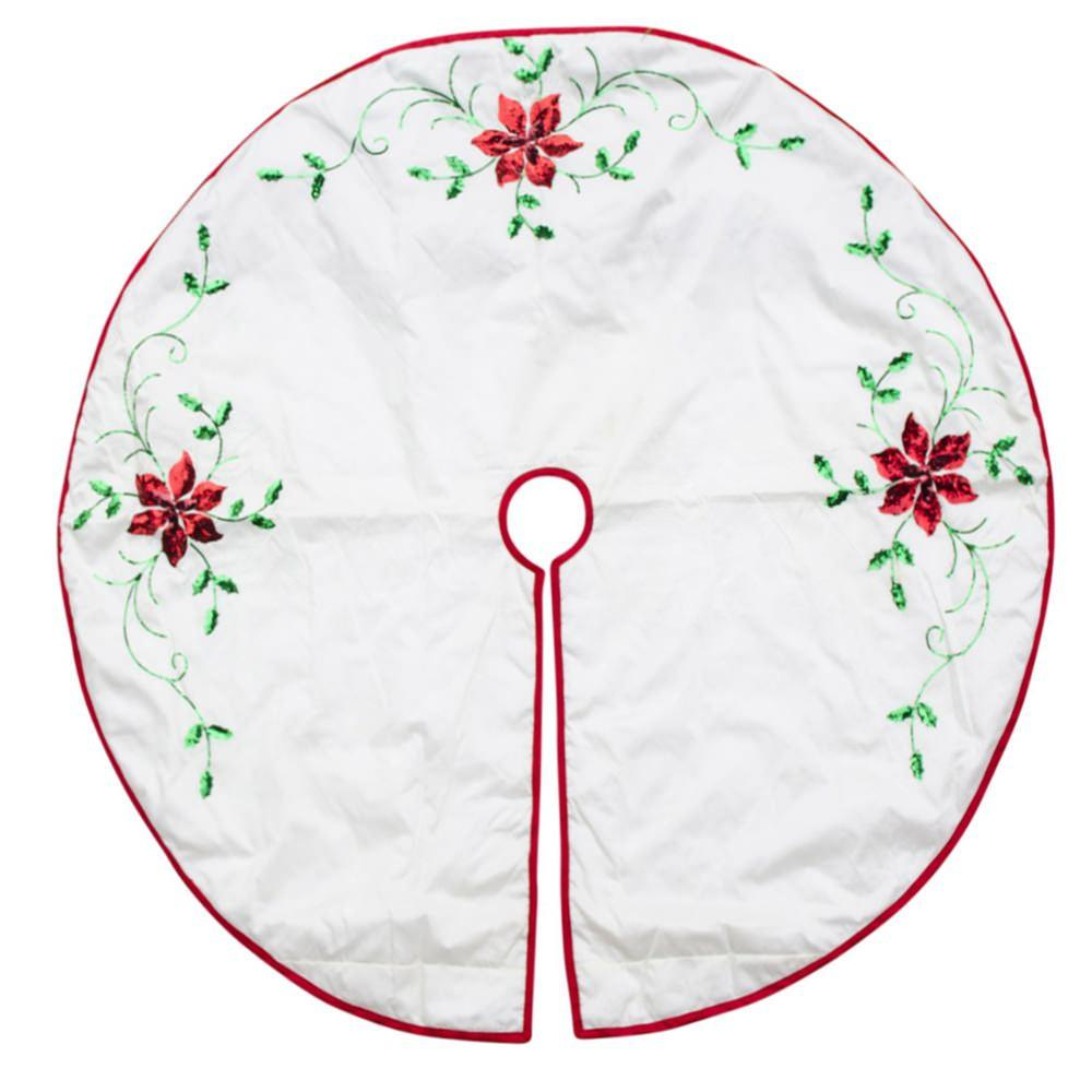 "48"" White Poinsettia Embroidered Christmas Tree Skirt"