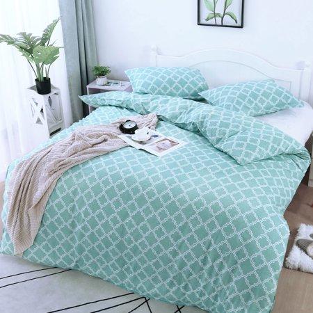 Brushed Velvet Lattice Pattern Bedding Set 2 Pillowcases Super King Green - image 6 of 8