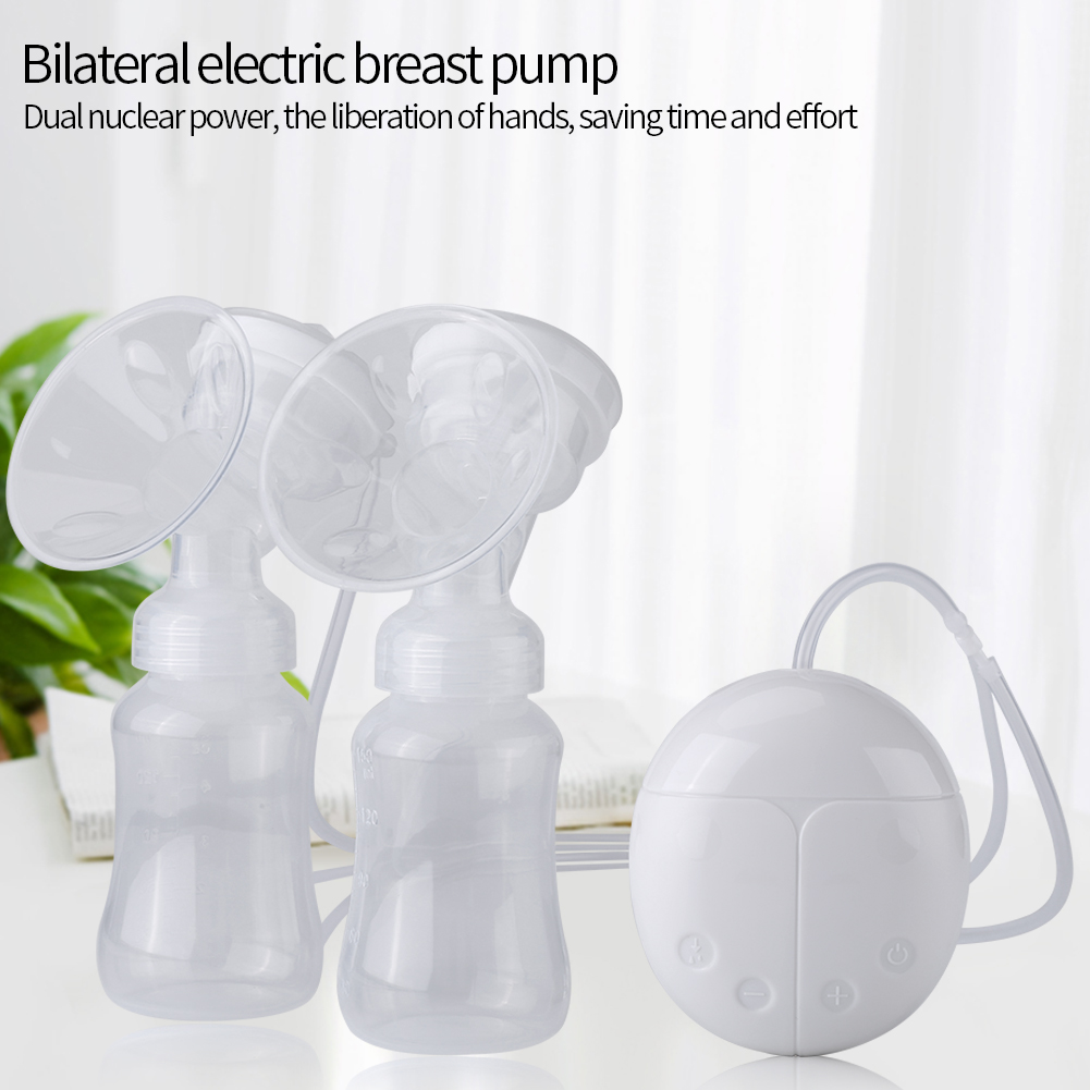 Double Electric Breast Pump Portable Breastfeeding Pump 150ML with Milk Bottle for Breastfeeding Baby Nursing Breast Milk Suction and Breast Massage USB Charging