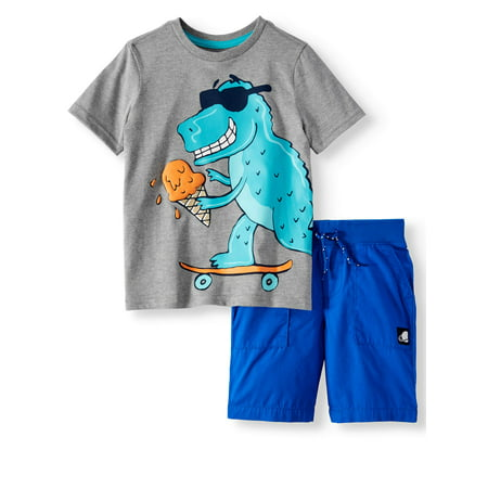 365 Kids from Garanimals Graphic T-Shirt & Shorts, 2-Piece Outfit Set (Little Boys & Big Boys) - Dark Angel Outfits
