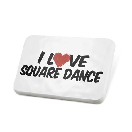 Square Lapel Pin (Porcelein Pin I Love Square Dance Lapel Badge – NEONBLOND)